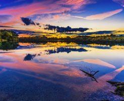湖のサンセット写真